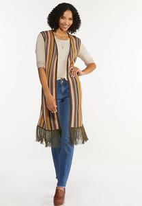 Plus Size Striped Sweater Vest