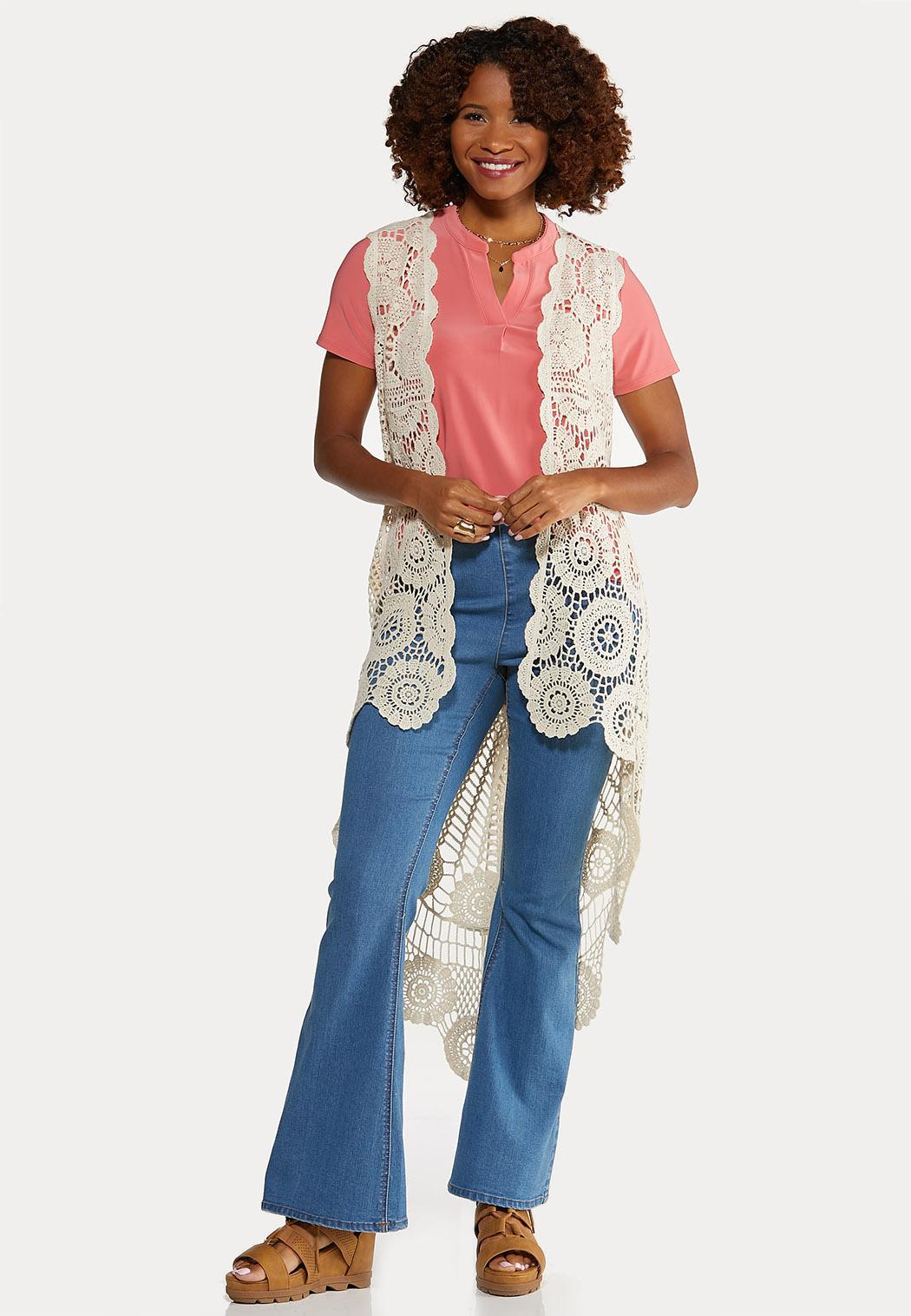 Plus Size Natural Crochet Vest