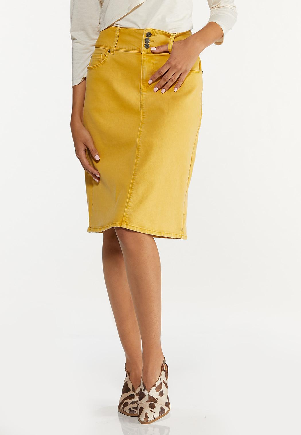 Plus Size Gold Denim Skirt