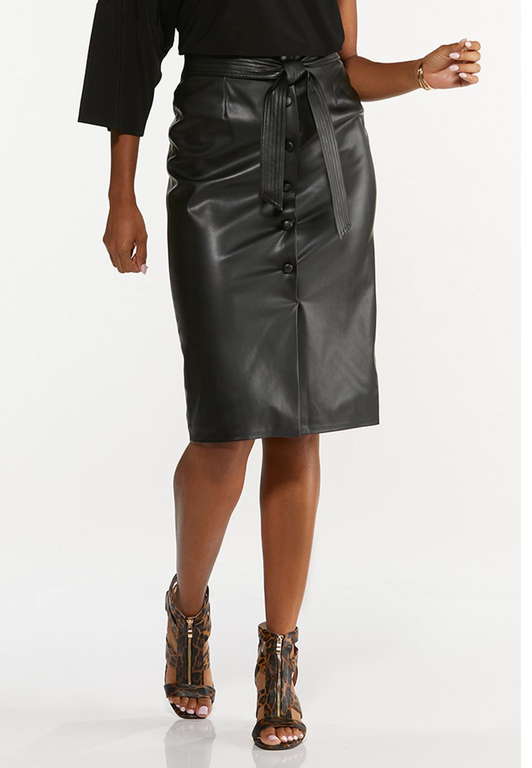 Plus Size Belted Faux Leather Skirt