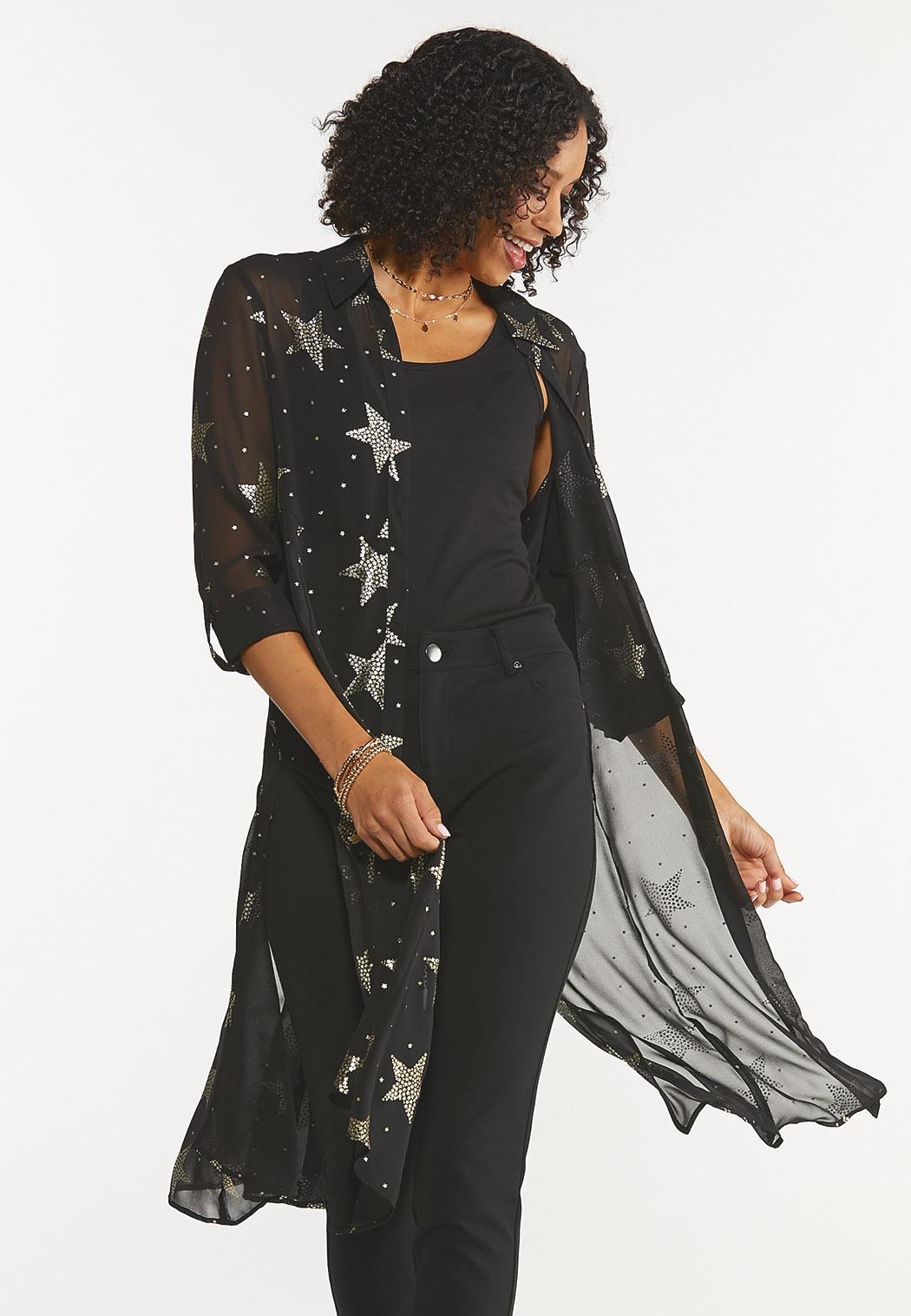 Plus Size Sheer Star Kimono
