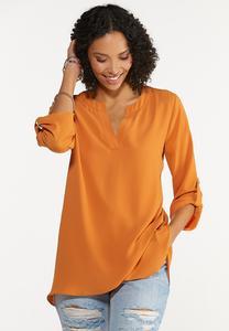Plus Size Autumn Orange Cross Hem Tunic