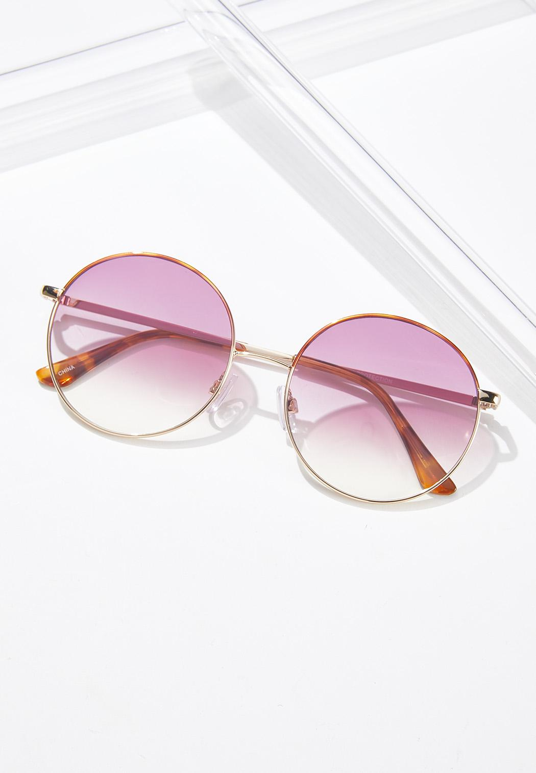 Pink Lens Round Sunglasses