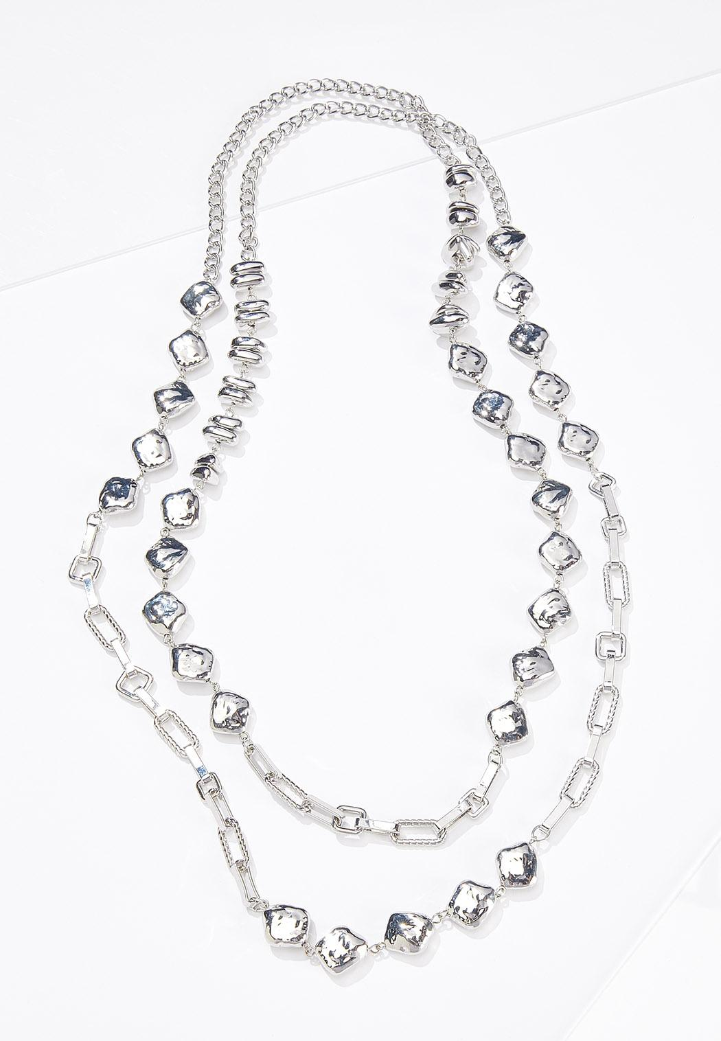 Layered Metal Stone Necklace