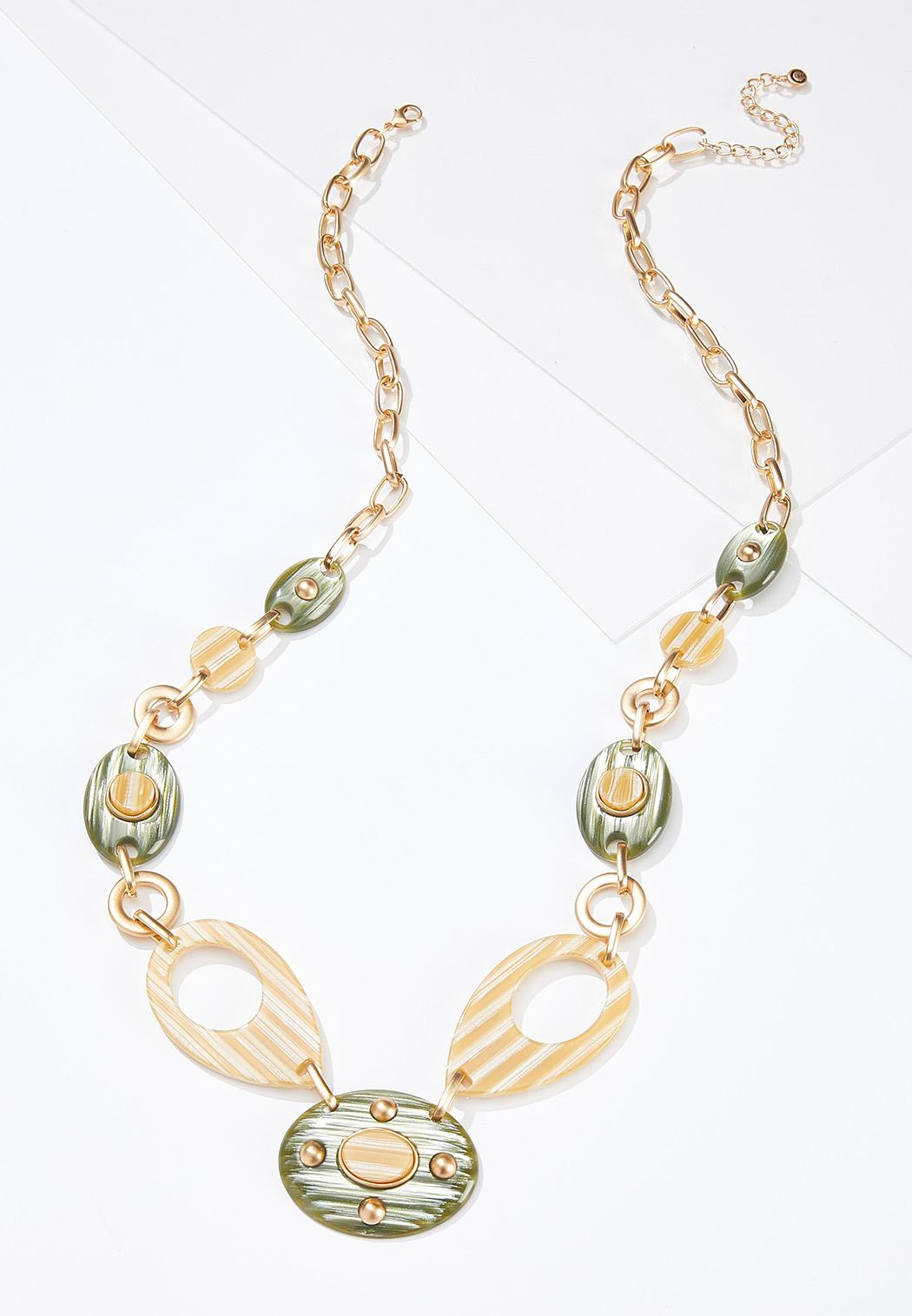 Gold Lucite Statement Necklace