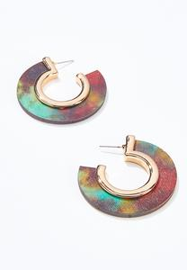 Painted Wood Hoop Earrings