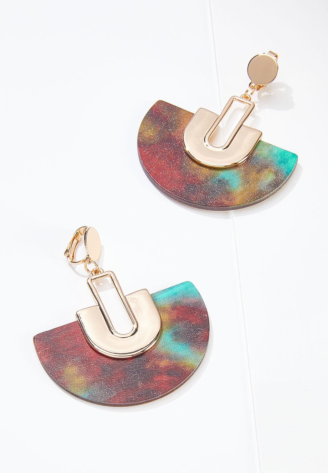 Painted Wood Fan Clip-On Earrings