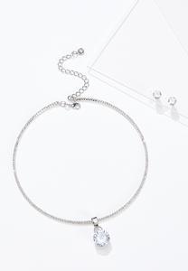 Sparkling Tear Shaped Pendant Necklace
