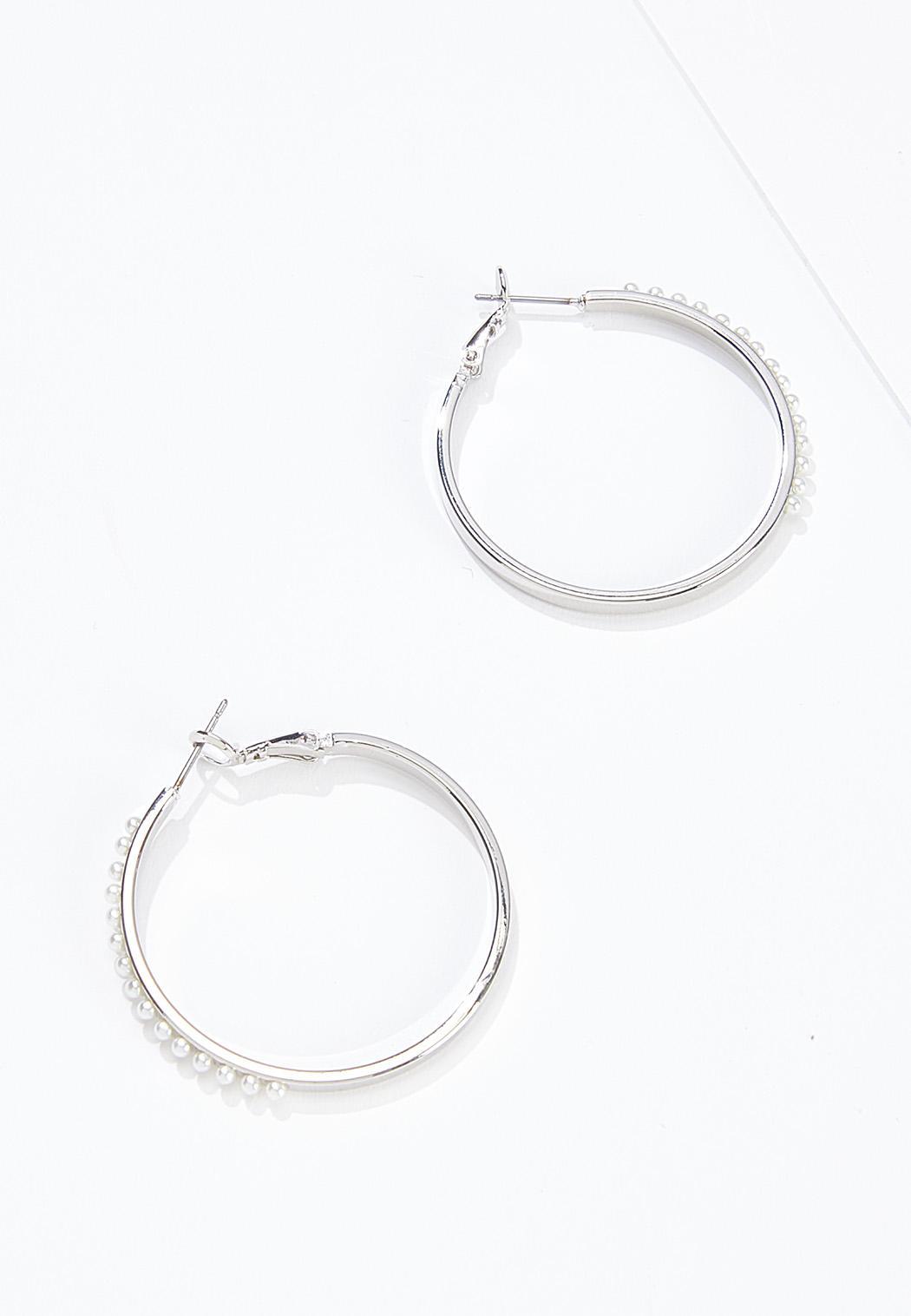 Side Pearl Hoop Earrings