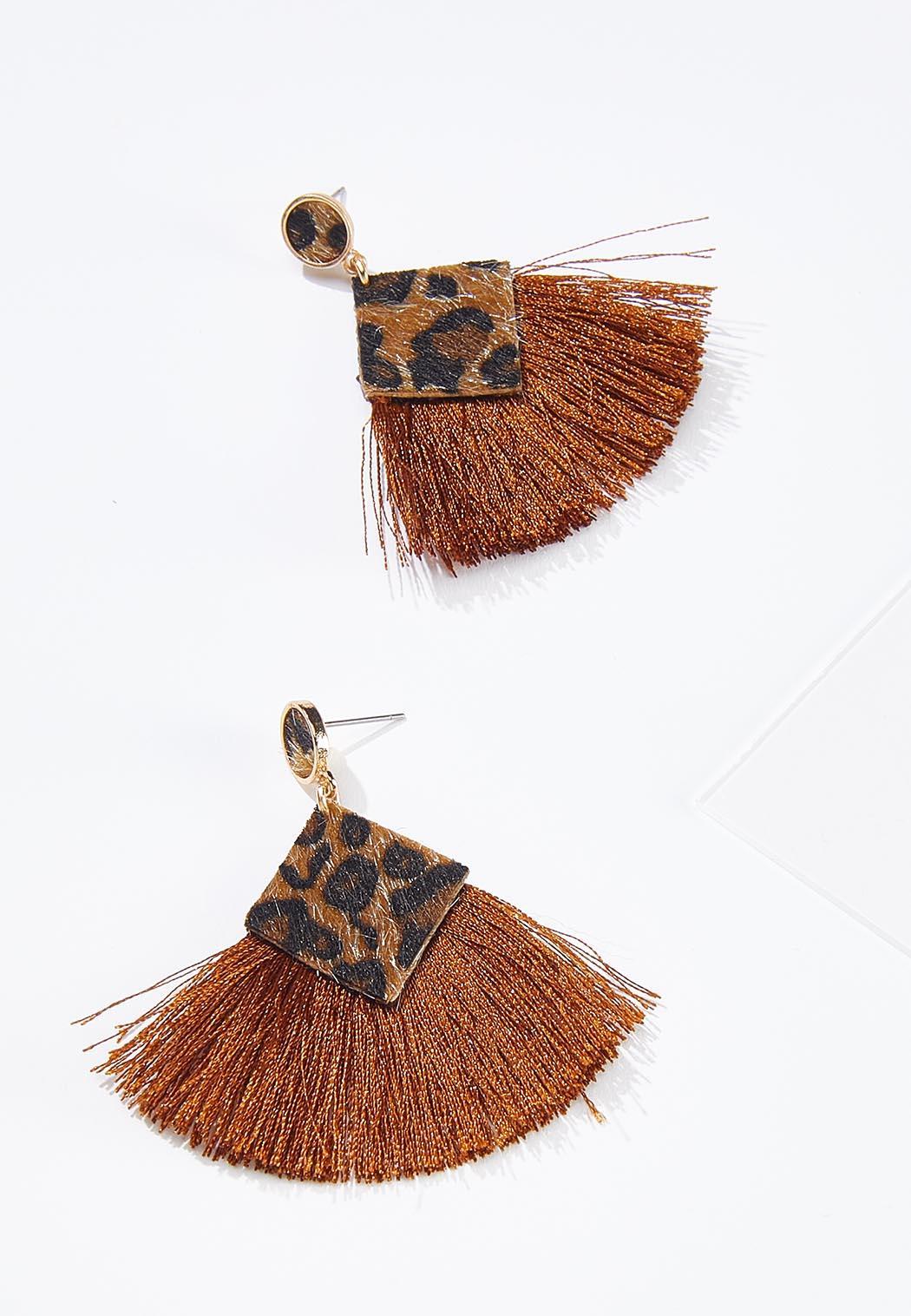 Fanned Leopard Tassel Earrings