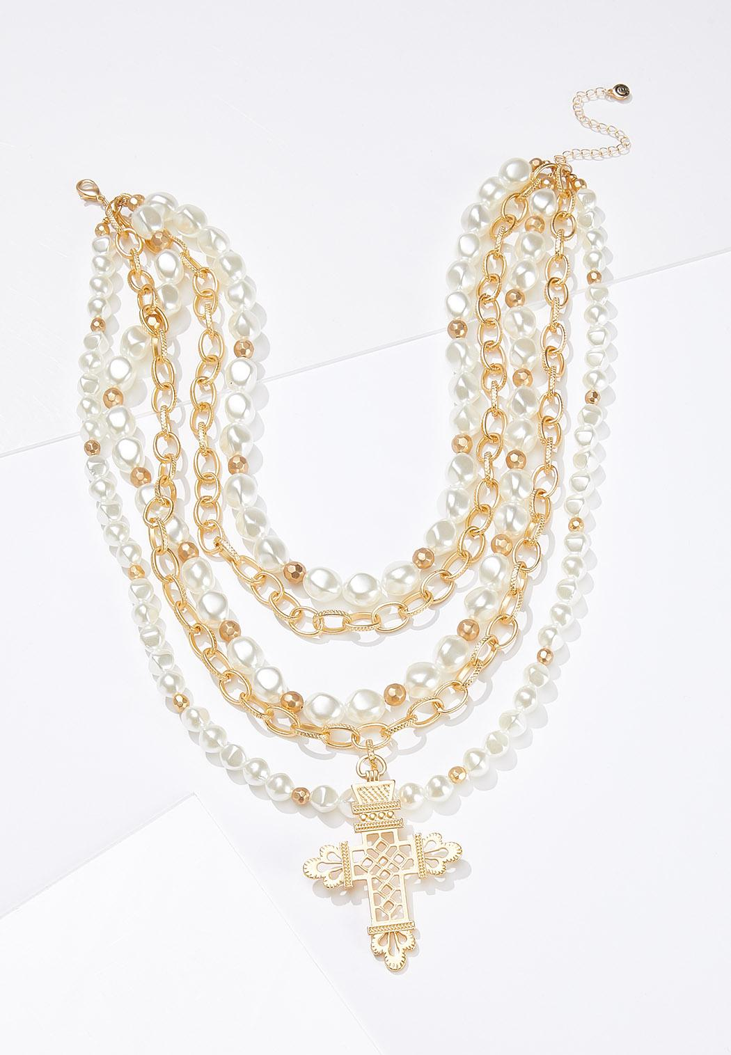 Layered Chunky Pearl Cross Necklace