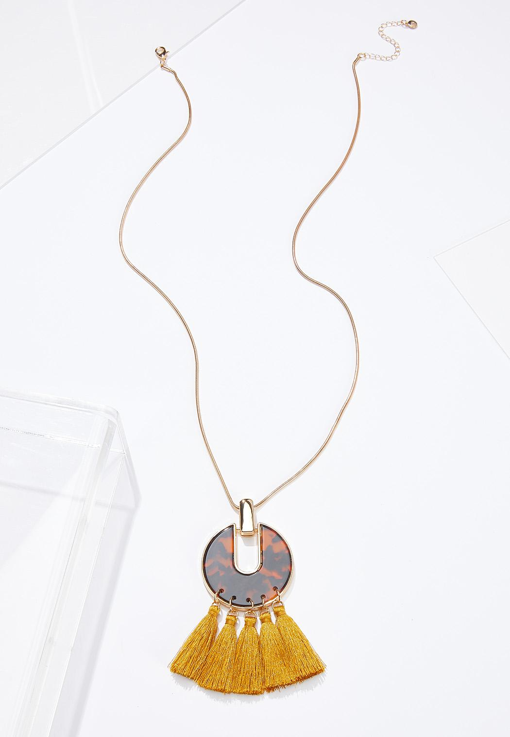 Gold Tasseled Pendant Necklace