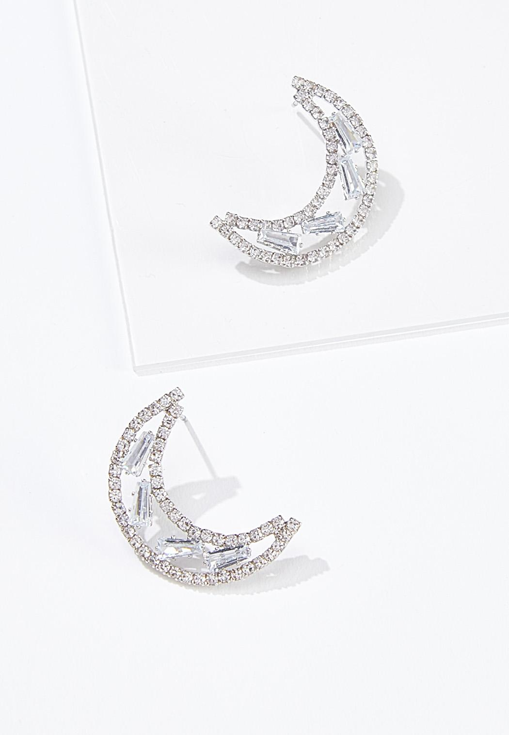 Stone Moon Button Earrings