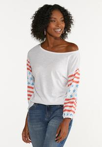 Plus Size Stars And Stripes Top