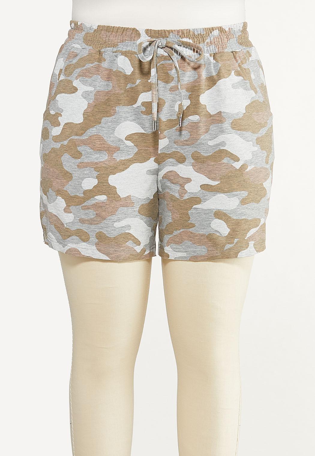 Plus Size Camo Drawstring Shorts