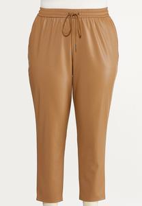 Plus Size Faux Leather Pants