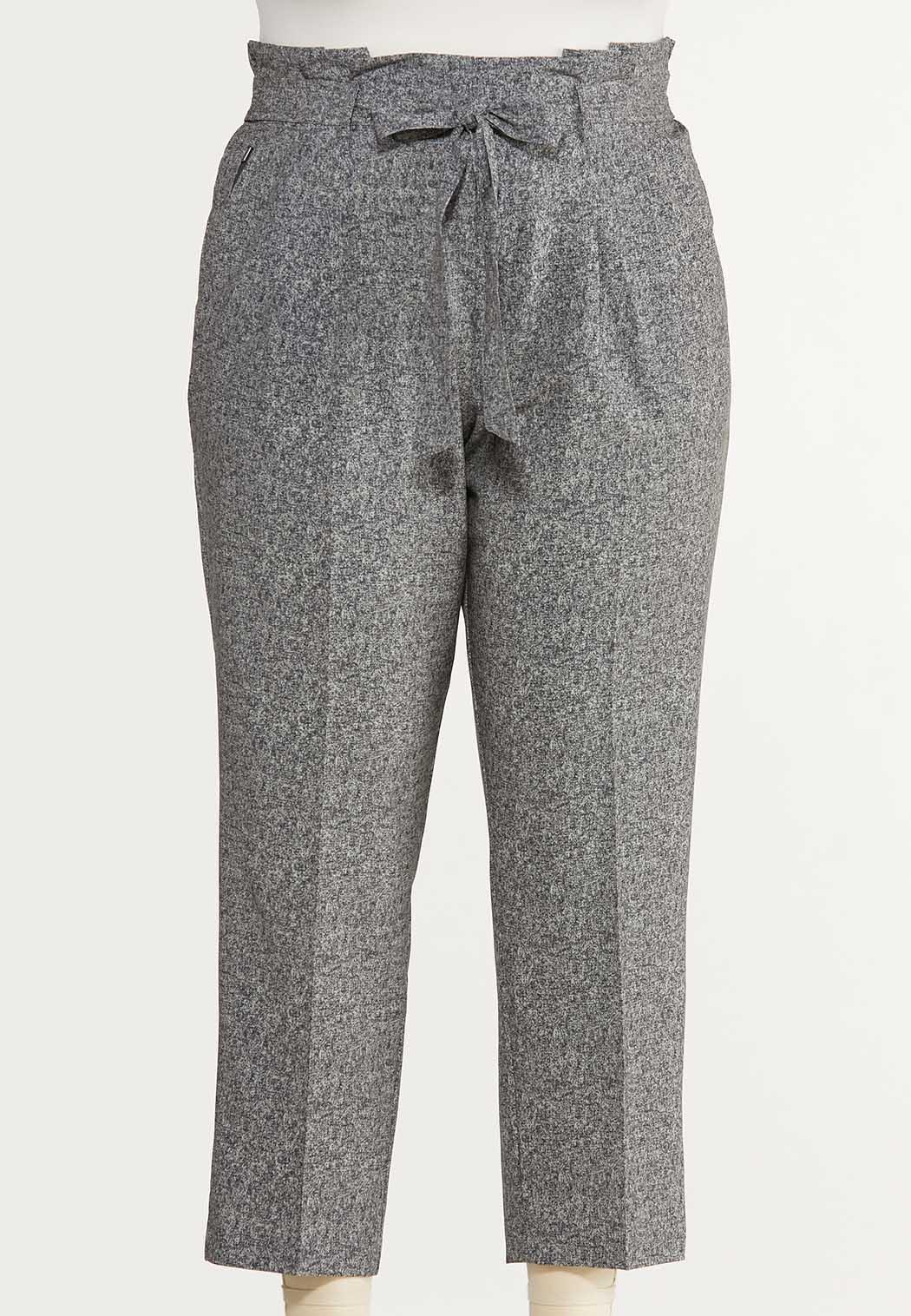 Plus Size Marled Tie Waist Pants