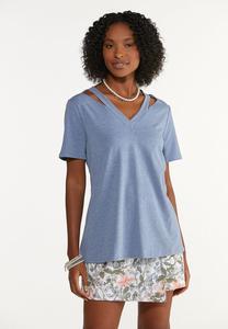 Plus Size Blue Cutout Shoulder Tee