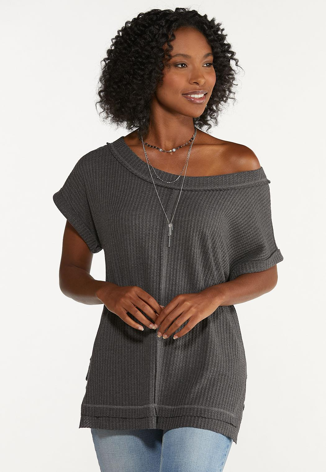 Plus Size Slouched Waffle Top