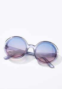Gray Lucite Round Sunglasses