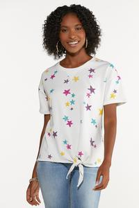 Plus Size Knotted Star Sweatshirt
