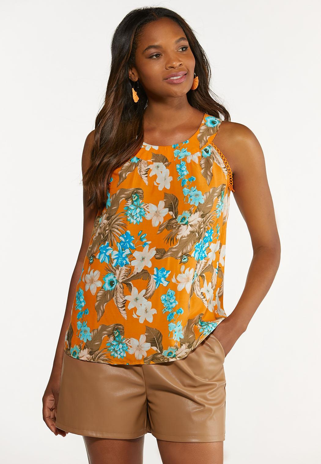 Plus Size Apricot Floral Top