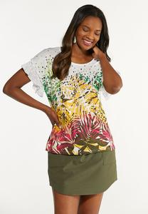 Plus Size Tropical Ruffled Sleeve Top