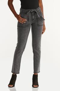 Black Tie Waist Jeans