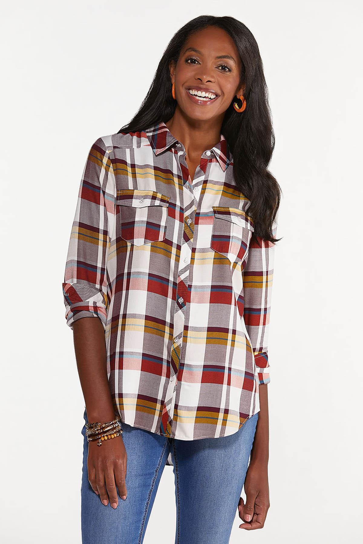 Plus Size Ivory Plaid Shirt