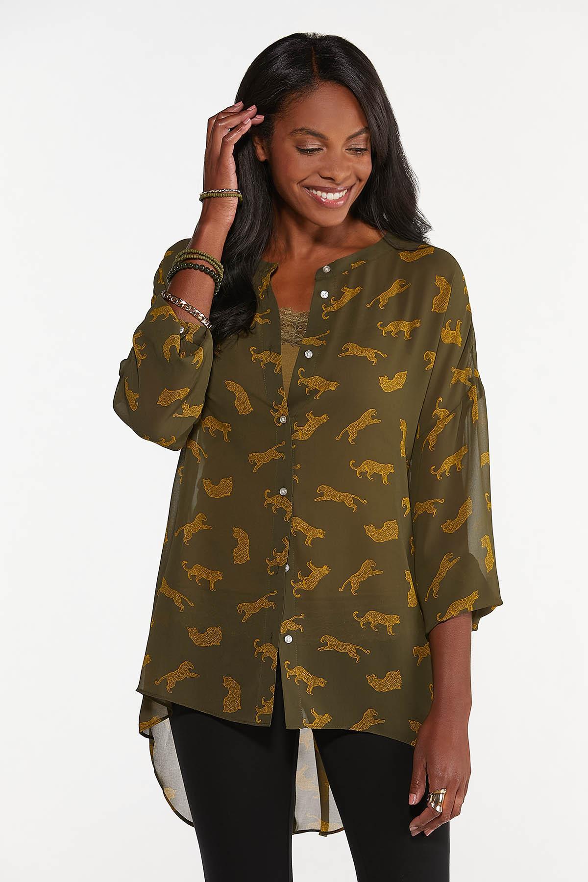 Plus Size Sheer Cheetah Tunic