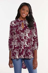 Plus Size Wine Floral High-Low Tunic