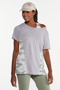 Plus Size Relaxed Camo Inset Tee
