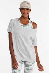 Plus Size Slouch Shoulder French Terry Top