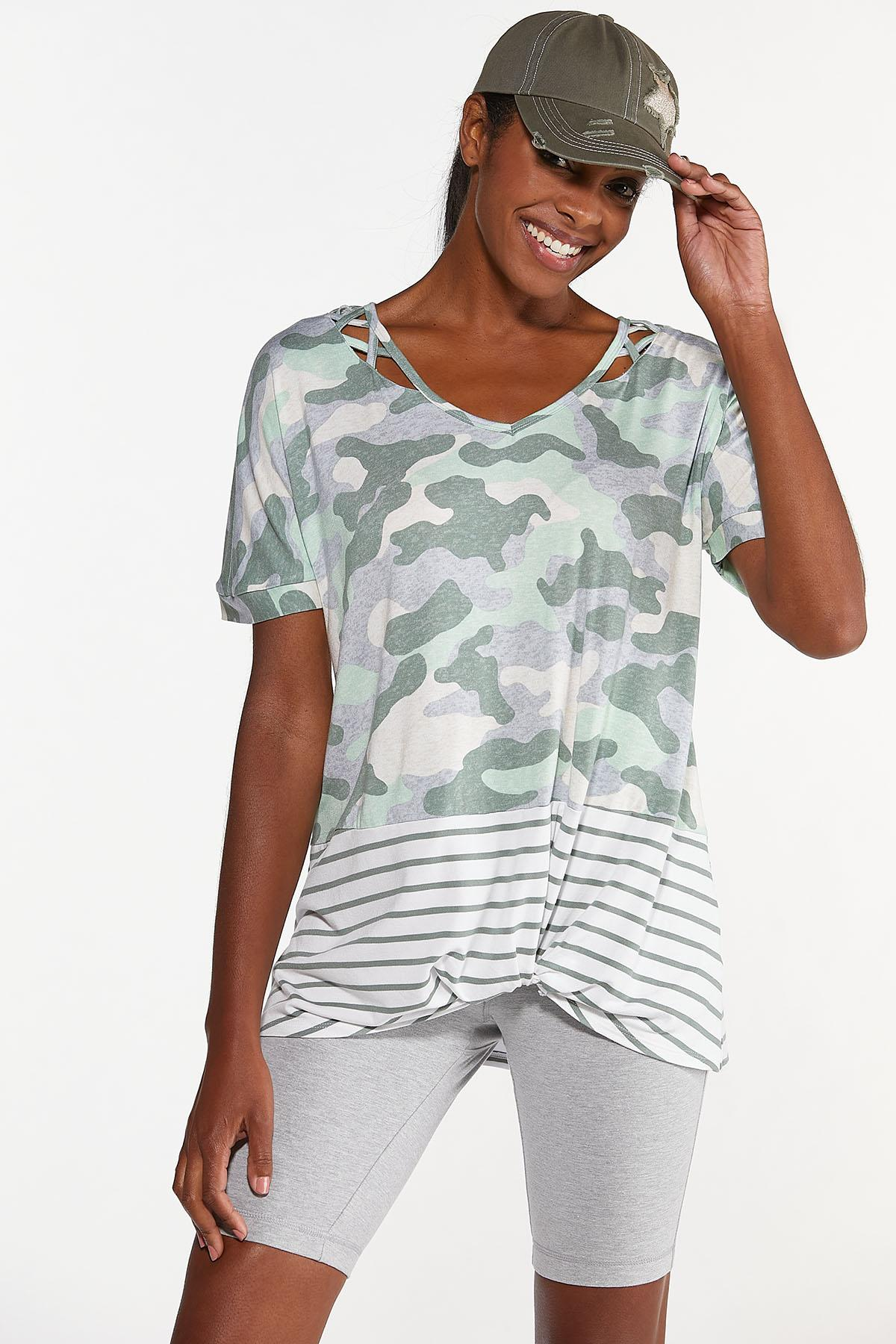 Knotted Camo Stripe Top