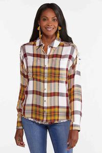 Oversized Frayed Plaid Shirt