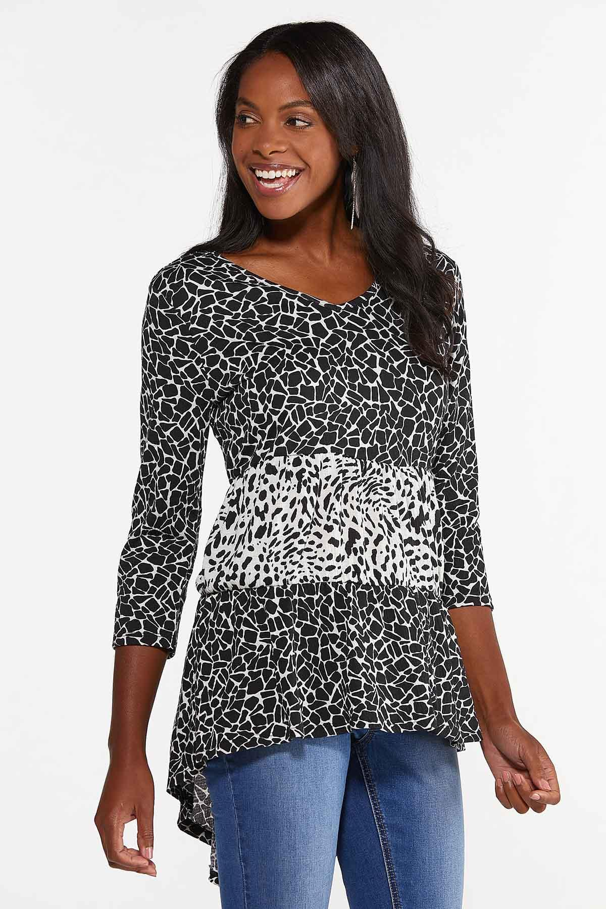 Plus Size Tiered Animal Print Top