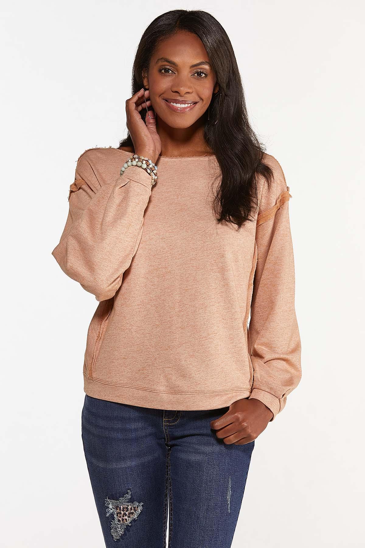 Plus Size Raw Edge Sweatshirt