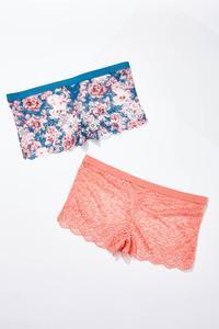 Plus Size Lattice Lace Hipster Panty Set