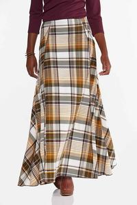 Plus Size Rustic Plaid Maxi Skirt