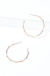 Gold Thin Bead Hoop Earrings