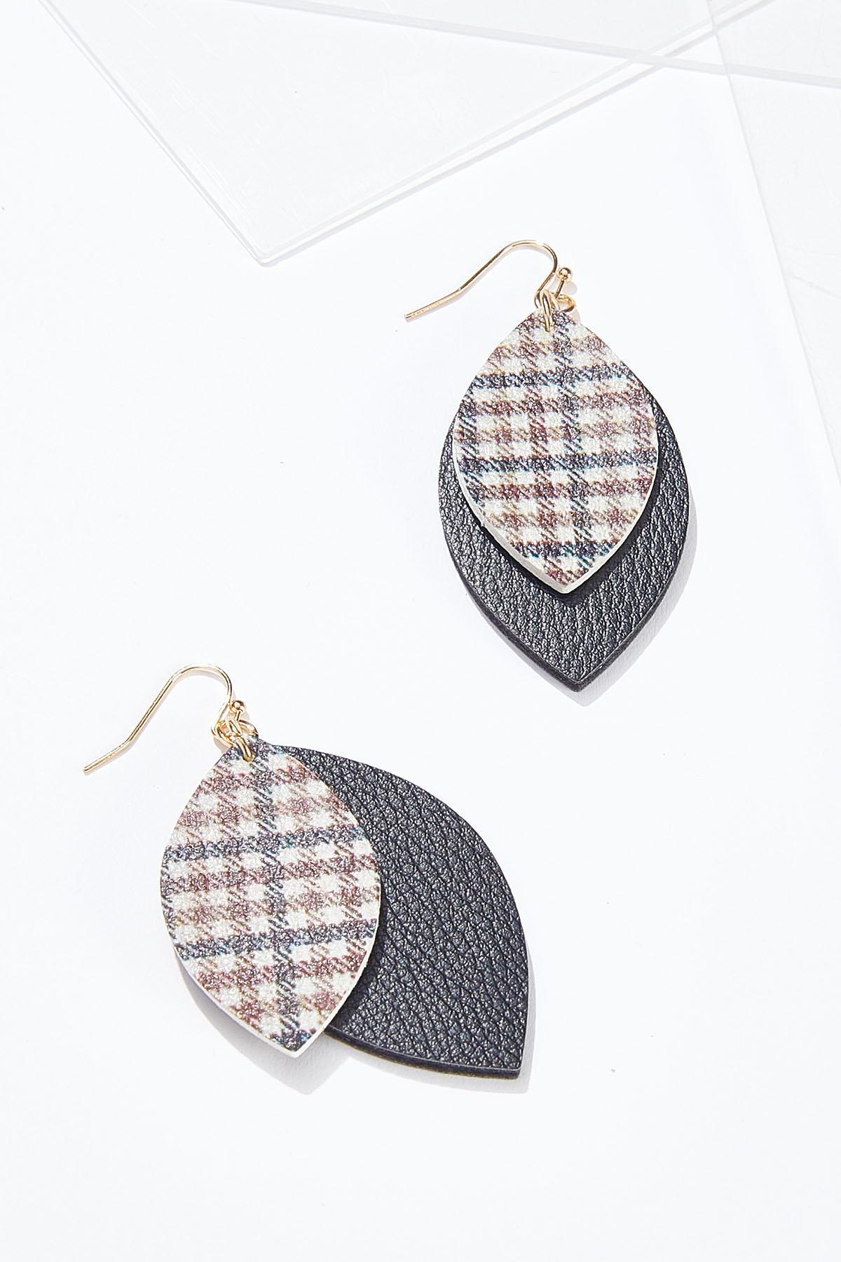 Plaid Faux Leather Earrings