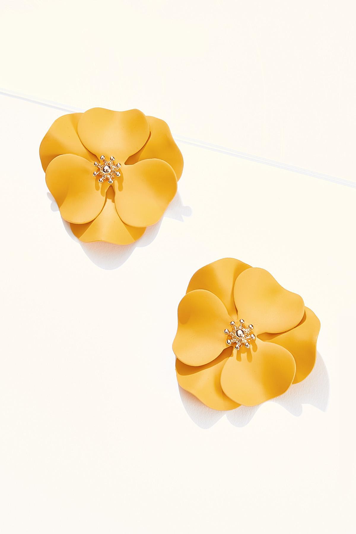 Gold Enamel Flower Earrings