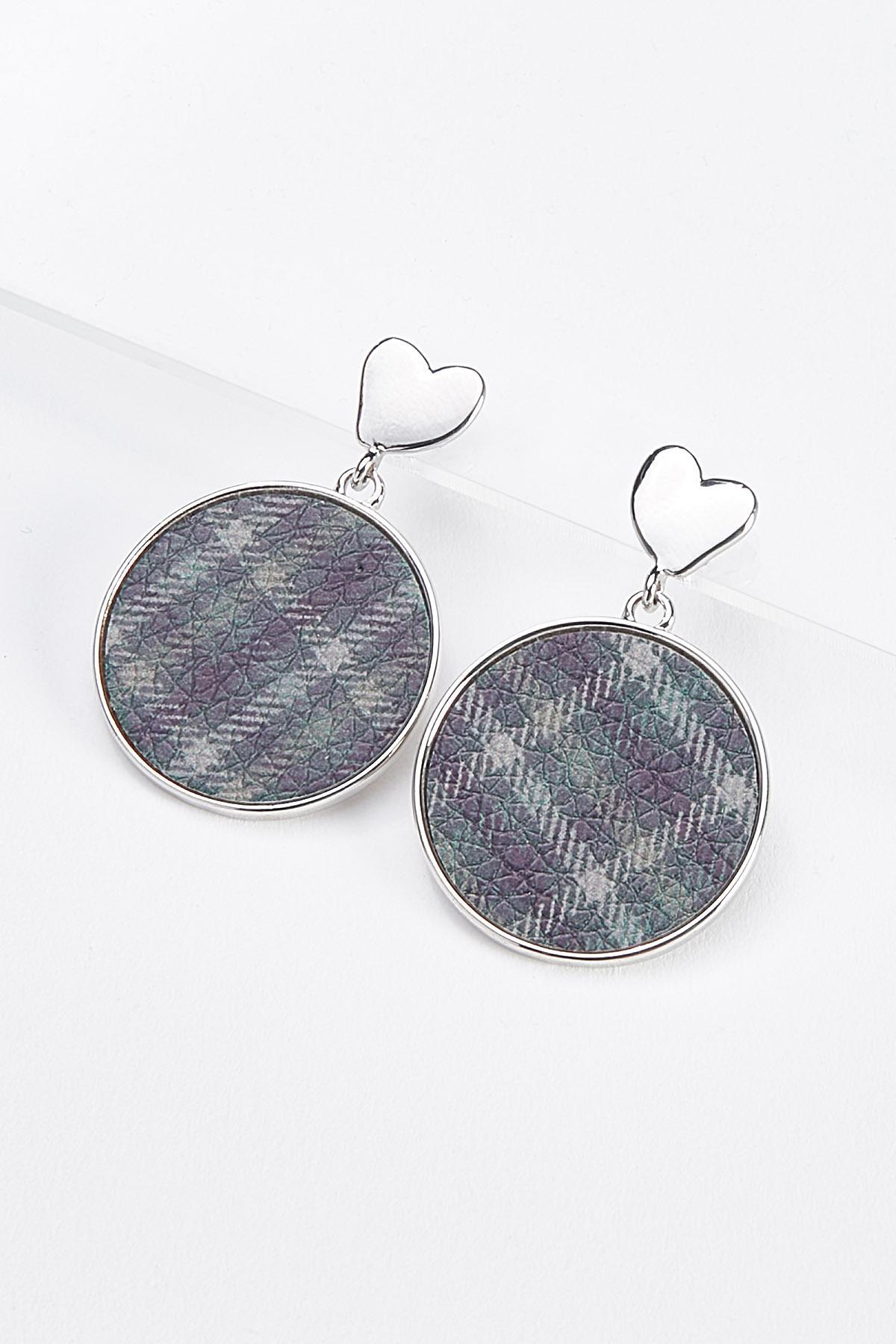 Plaid Heart Post Earrings