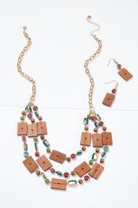 Geo Bead Necklace Earring Set
