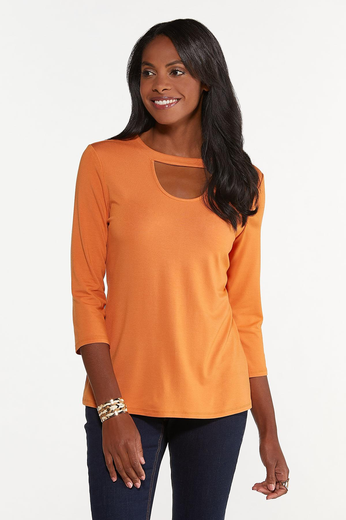 Plus Size Solid Cutout Top