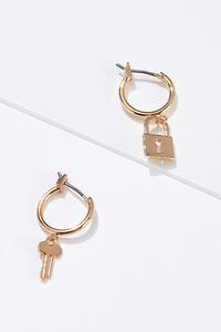 Mismatched Lock Key Earrings