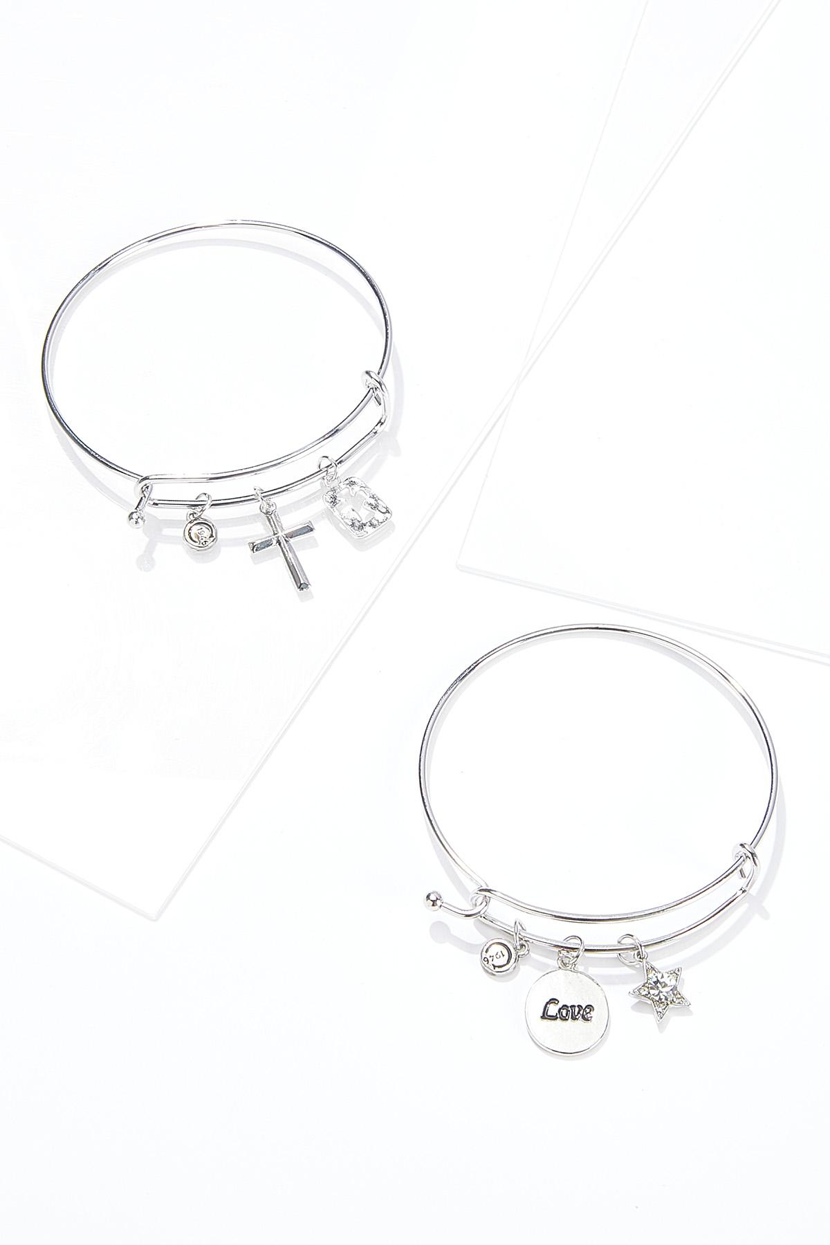Heart Cross Charm Bracelet Set
