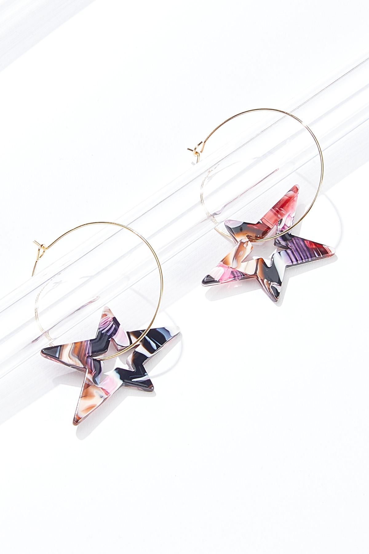 Marbled Resin Star Hoop Earrings