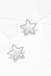 Sparkly Pearl Star Earrings