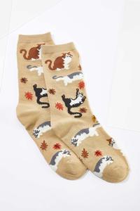 Fall Leaves Tan Cat Socks